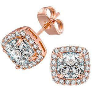 18K Rose Gold Plated Square Cubic Zircon Simulated